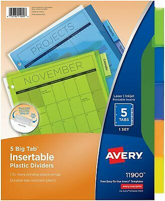 Avery 5-tab Plastic Binder Dividers Insertable Translucent Multicolor Big Tabs