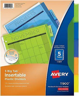 Avery 5-tab Plastic Binder Dividers Insertable Translucent Multicolor Big Tabs