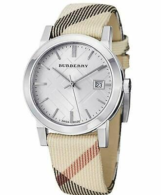 Burberry Women's BU9022 Heritage Fabric Band Swiss Nova Check Leather Watch