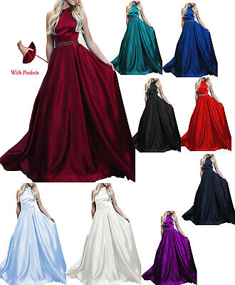 Halter A Line Long Evening Dresses Satin Backless Beads Prom Dress with Pockets A-line Halter Long Satin