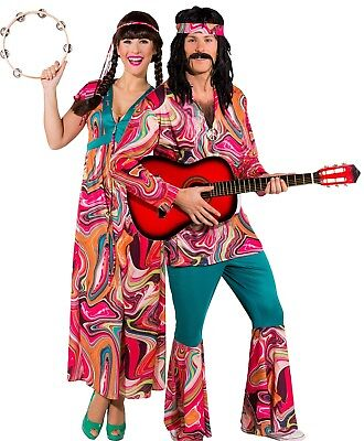 Couples Ladies AND Mens Festival Hippie Carnival Fancy Dress Costumes Outfits - 1970s Couples Costumes