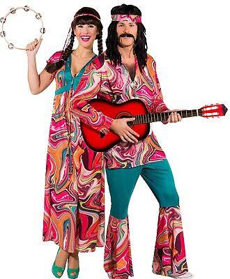 Paar Damen und Herren Festival Hippie Karnevalskostüm Verkleidung - Hippie Paar Kostüm
