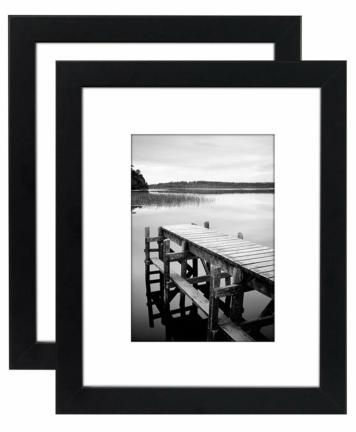 Picture Frame 8 x 10 Black Wood Easel Stand Wall Tabletop 2 Pack Frames