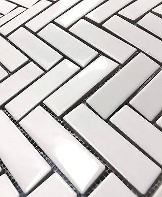 Wall Tile Gloss (1x3 High Gloss Polished Finish White Herringbone Porcelain Wall Mosaic Tile )