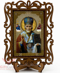 Saint Nicholas Икона Николай Чудотворец Orthodox Wooden Icon