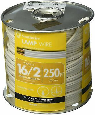 Southwire 162 Spt-2 300 Volts Lamp Cord Wire 250 Ft. White Stranded 16 Awg