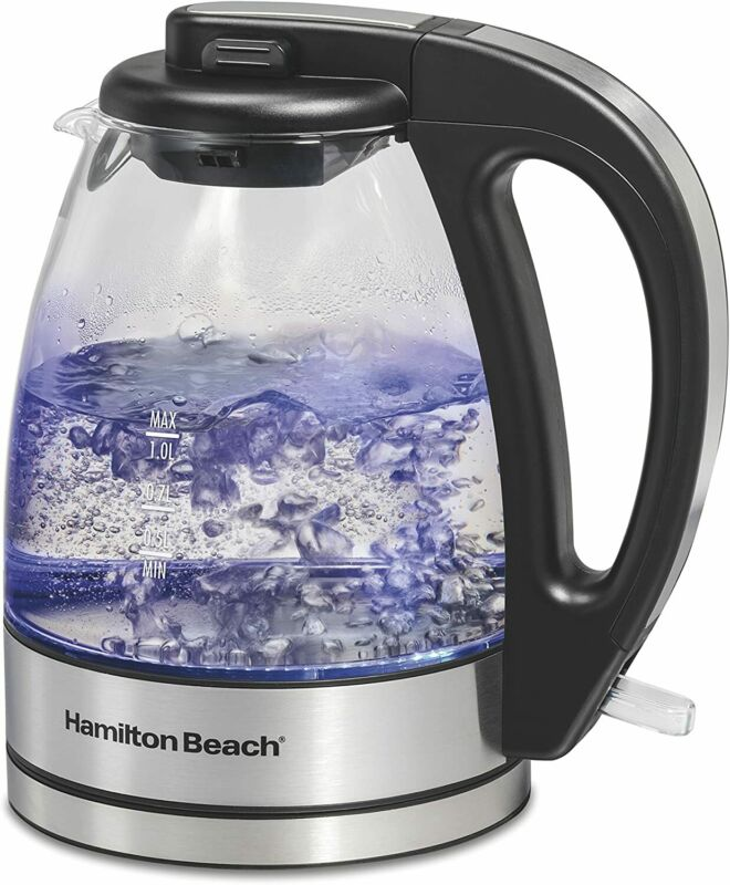 Glass Electric Tea Kettle, Water Boiler & Heater, 1 L, Cordless, LED Indicator