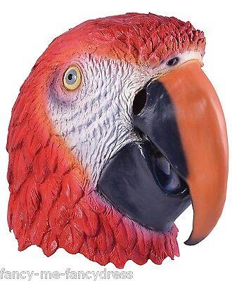 Herren Damen Papagei Vogel Gummi Gesichtsmaske Halloween Kostüm Kleid Outfit
