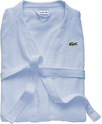 """Lacoste Classic Pique 100% Cotton Bath Robe, 41.5"""" L, Sky Blue"""