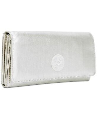 NWT Kipling New Teddi Wallet Cloud Grey Metallic/Silver $34