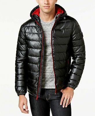 Cole Haan Men's Faux-Leather Puffer Coat XXL (Cole Haan Mens Faux Leather Puffer Coat)