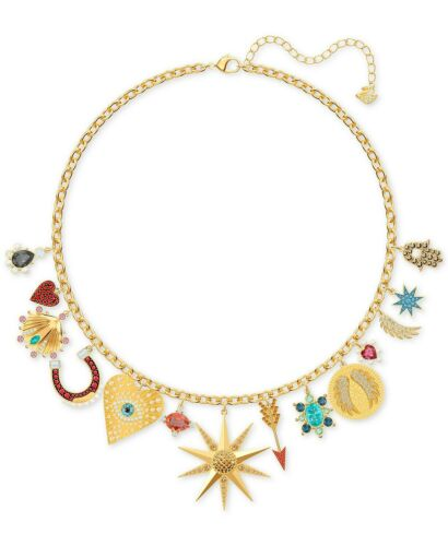 NIB $299 Swarovski Gold-Tone Lucky Goddess Charm Necklace #5451263