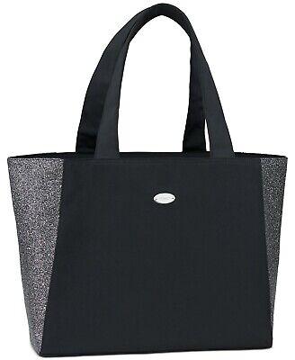 Coach Fragrance black shimmer glitter silver large Tote Bag silky purse shopper -