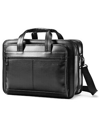 NEW Samsonite Leather Expandable Laptop Briefcase Bag Black Business Case