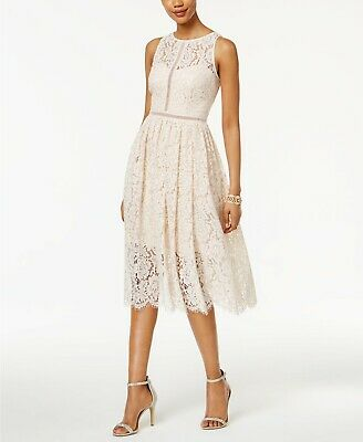 Adrianna Papell Lace Tea Length party cocktail  lace silver Dress Size 14 -
