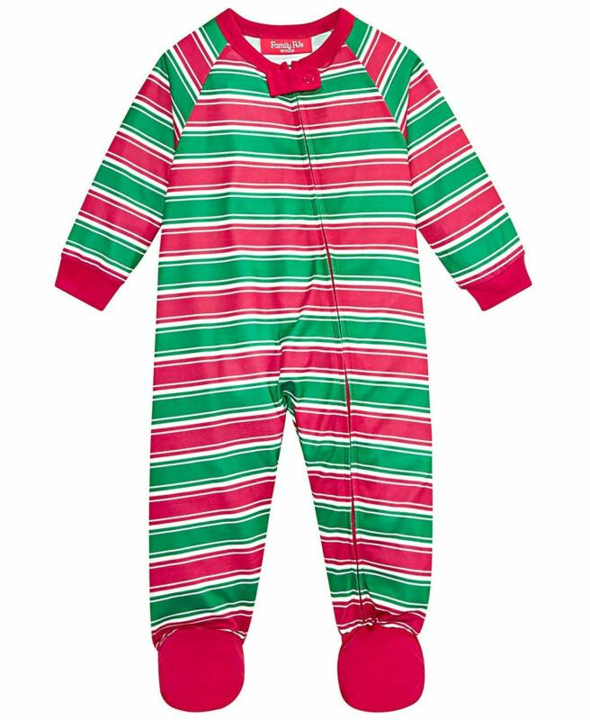 Family PJs Infant Crushed It One Piece Pajamas Red Green Stripe 18 MOS