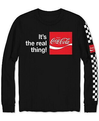 Hybrid Coca-Cola Men's Long-Sleeve Crew Neck T-Shirt Black Size 2XL NEW $55