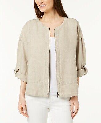 Eileen Fisher Size L Organic Linen Utility Full Zipper Jacket Neutral Beige