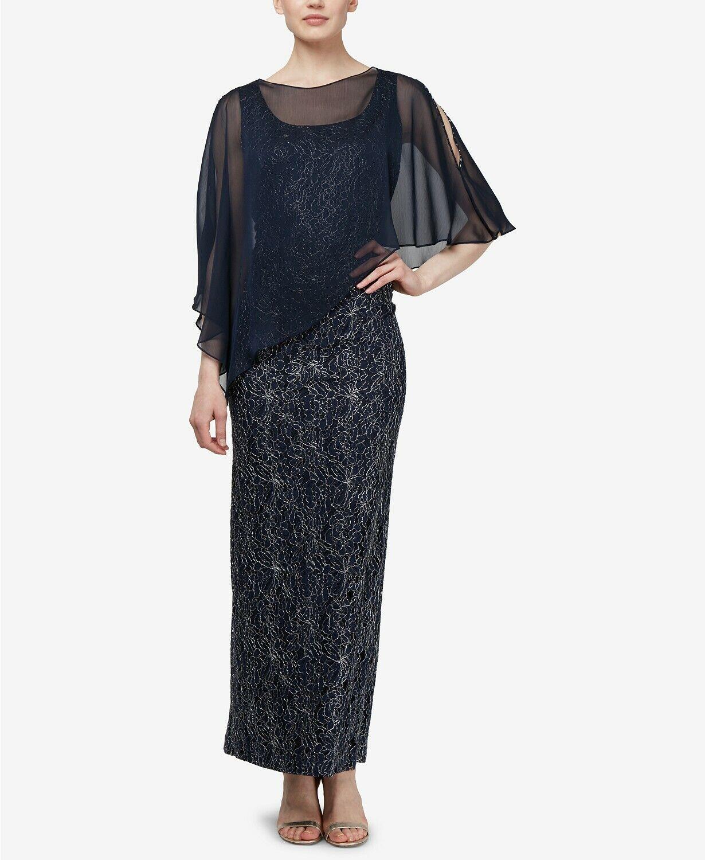 SL Fashions Lace Cape Gown $179 Size 6 # 3B 817 Blm