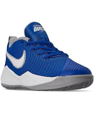 Nike Boys Team Hustle Quick 2 Basketball Shoes Blue/White/Gray Size 5Y