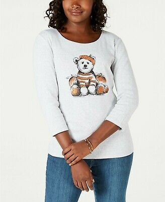 BUNDLE Karen Scott Halloween Cotton Pumpkin Bear  long sleeve T-Shirt size L (Karen Halloween)