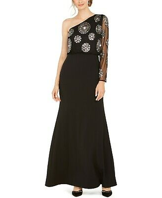 Adrianna Papell Beaded One-Shoulder Gown MSRP $299 Size 8 # 14B 758 Blm