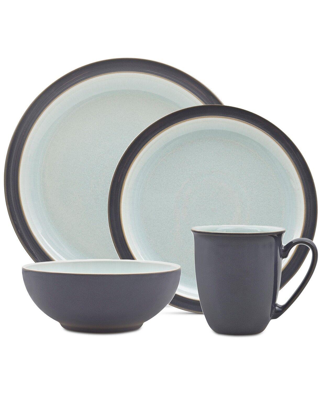 Denby Blends Blue PEVERIL 4-piece Dinnerware Set Service for