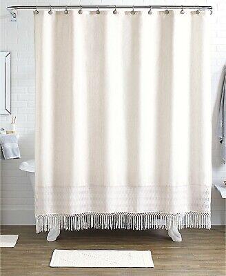 Idea Nuova Pure Bath 15-Piece Shower Curtain, Hooks & Rugs Set Ivory P98006