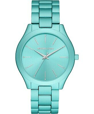 Michael Kors Women's Slim Runway Aqua Aluminum Bracelet Watch 42mm - NEW