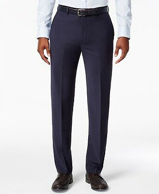 $210 CALVIN KLEIN Men Blue Wool Extreme Slim Fit FLAT FRONT PANTS 34 W 30 L