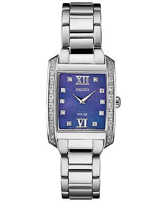 Ladies Seiko Solar Square Silver Stainless Blue MOP 28 Diamonds Watch SUP401