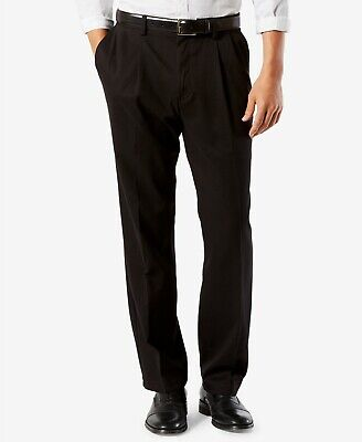 Dockers Easy Khaki Pants Classic Fit Stretch Comfort Waist Pleated Front Black -