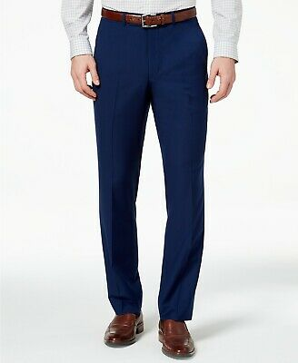 $125 Kenneth Cole Flex Slim-Fit Stretch Navy Blue Solid Dress pants 40 x 32