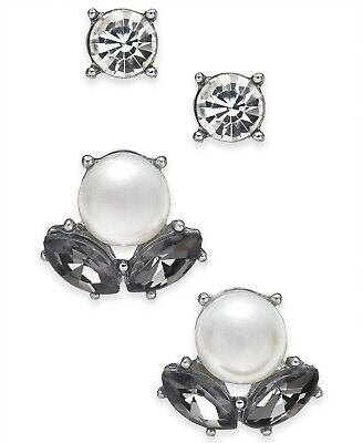 Charter Club Silver-Tone 2-Pc. Set Imitation Pearl & Stone and Crystal Stud -