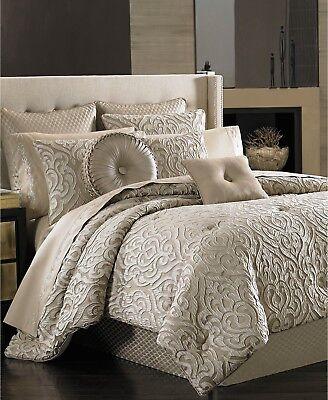 J Queen New York Astoria 2 Piece KING Comforter Set SAND Bedding $500 I1049