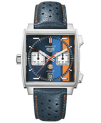 NEW TAG Heuer Men Swiss Automatic Monaco Gulf Blue Leather Watch -
