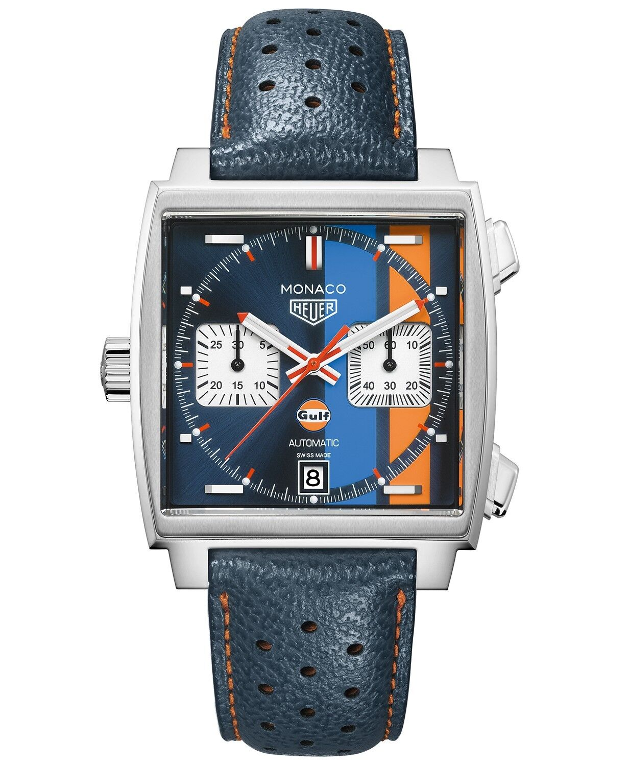 NEW TAG Heuer Men Swiss Automatic Monaco Gulf Blue Leather Watch CAW211R.FC6401 - watch picture 1