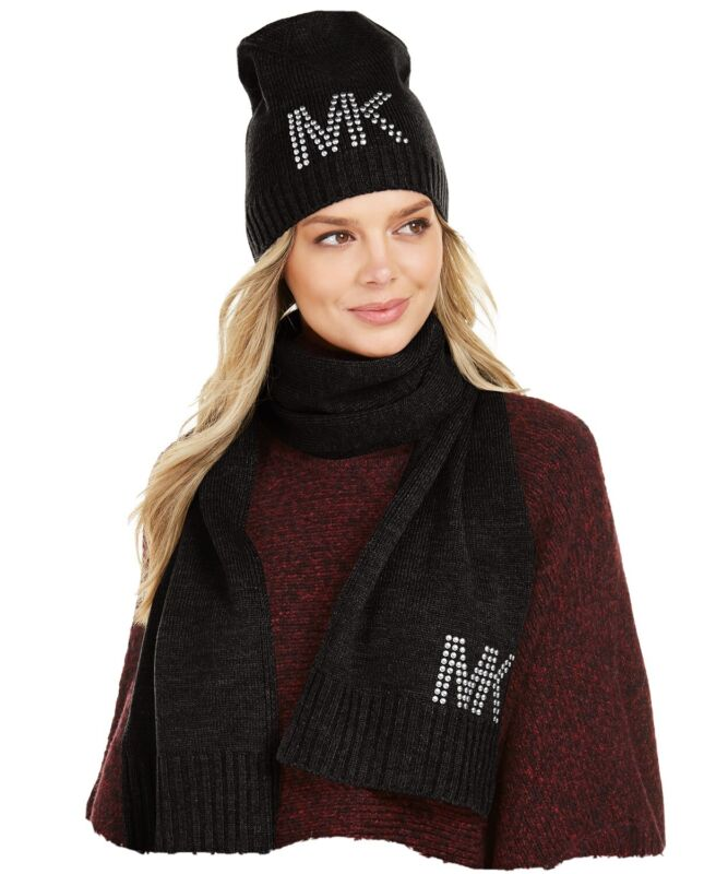 Michael Kors Studded Beanie and Scarf Set