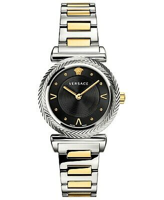 VERSACE WOMEN'S $1195 V-MOTIF TWO-TONE/BLACK DIAL SWISS DRESS WATCH VERE00518