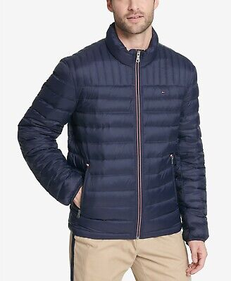 $195 Tommy Hilfiger Navy Down Quilted Packable Logo Jacket Mens Medium NEW