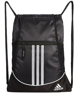 Adidas Drawstring Backpack Sackpack Sport Gym Bag School Travel Sack Pack Black