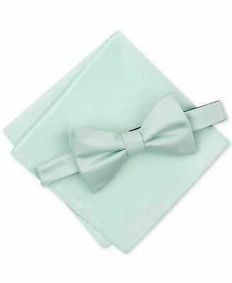 Alfani Men's Satin Solid Bow Tie & Pocket Square Set, Sage Light Green, One Size Bow Tie Solid Light