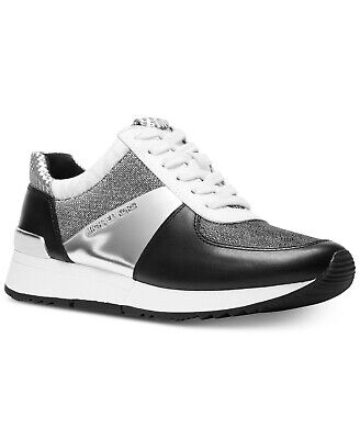 Black & Silver Leather Sneaker - Michael Kors Women's Allie Trainer Leather Metallic Sneakers Shoes Black Silver