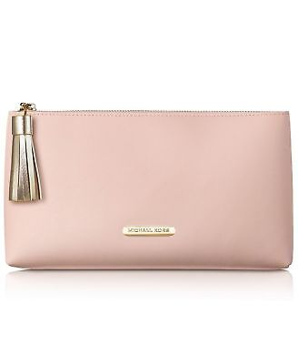 Pink Pouch - MICHAEL KORS peach pink blush nude clutch pouch cosmetic makeup bag purse tassel