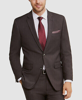 $395 Perry Ellis 40R Men's Gray Slim Fit Suit Coat Sharkskin Solid Blazer Jacket