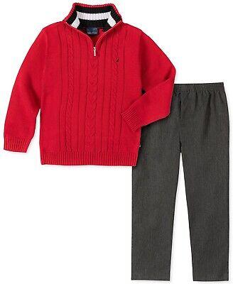 Nautica Boys 2-Pc.Cable-Knit 1/4-Zip Sweater & Gray Pants Set sz 2T MSRP $55.00