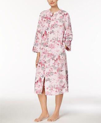 Miss Elaine Fleece Robe Zip Front Floral Print Soft Worms Robe  S, M, L