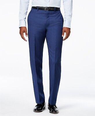 $169 CALVIN KLEIN Men's Blue Wool Extreme Slim Fit FLAT FRONT PANTS 36 W 30 L