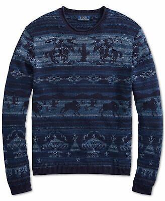 Polo Ralph Lauren Men Southwestern Aztec Tribe Western Cowboy Rodeo Knit Sweater