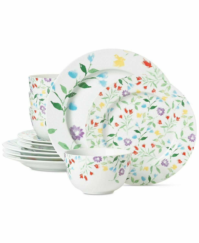 как выглядит 167 New Martha Stewart Collection Floral Print 12 Piece Dinnerware Set Multi фото